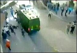 زیر گرفتن معترضان مصری با اتومبیل
