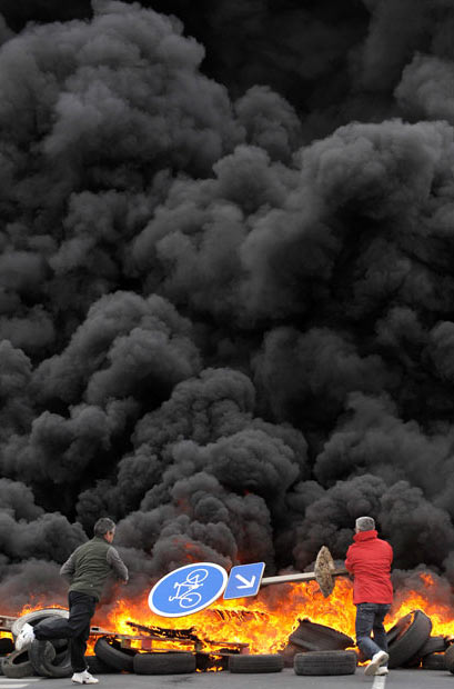 آتش زدن لاستيك