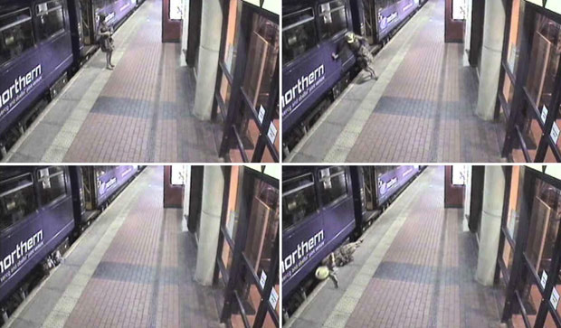 زن مستی که نزدیک بود زیر قطار مترو کشته شود! + عکس
