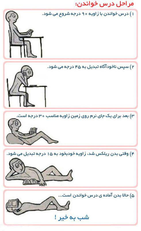 عکس طنز: مراحل درس خواندن!