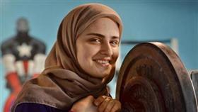 مرژانو - زن وزنه بردار با حجاب اسلامی (عکس)
