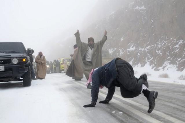 بارش برف در عربستان