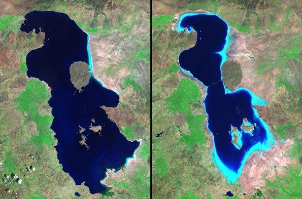 تصاویر ماهواره ای از دریاچه ارومیه
