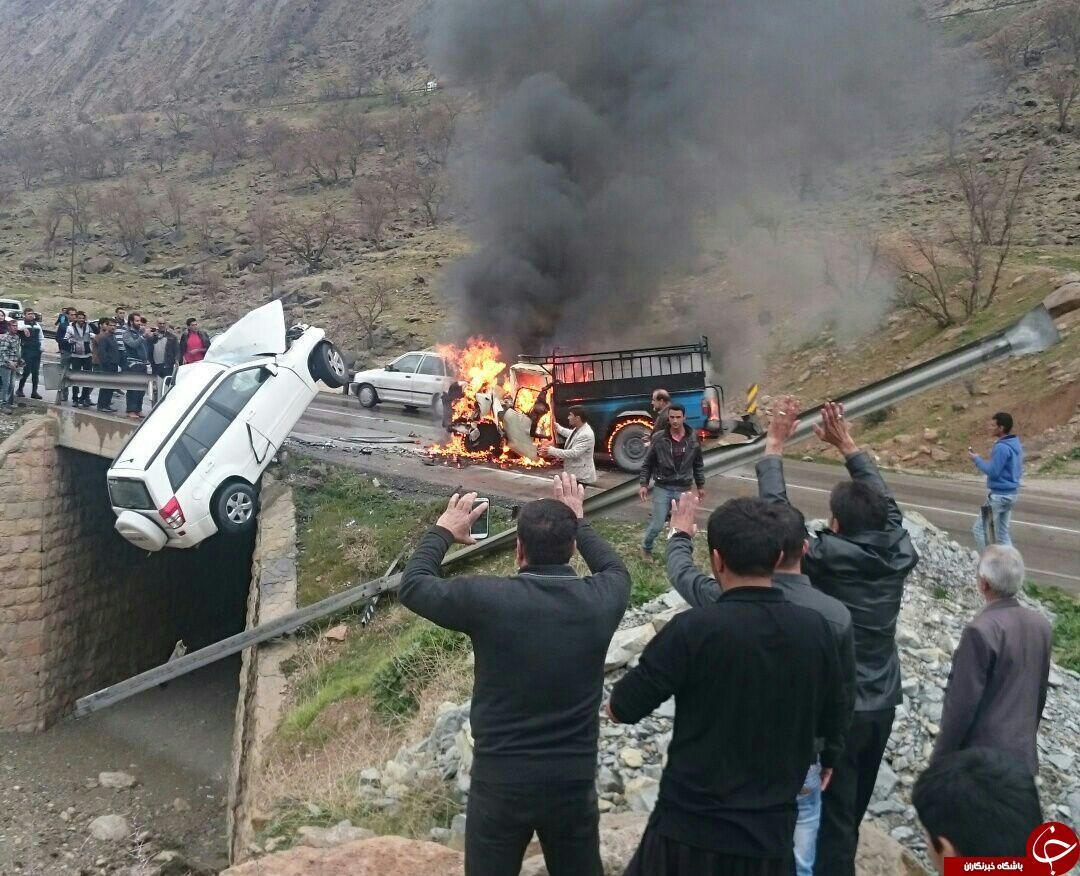 تصادف موتور سنگین در شیراز تصادف وحشتناک در جاده شیراز - بوشهر (عکس+16)