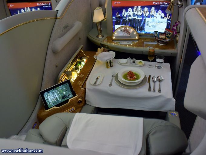 تصاویری از خدمات دهی هواپیمایی امارات در هواپیماهای غول پیکر A-380