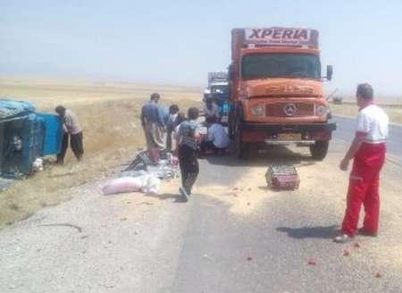 تصادف مرگبار نیسان و کامیون در آزادراه همدان