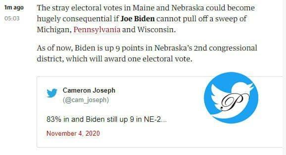 انتخابات امریکا/ جو بایدن 237 - ترامپ  210