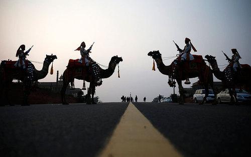نظامیان شترسوار هند در حاشیه رژه روز ملی در شهر دهلی نو
