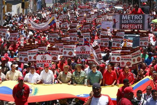 تظاهرات کارکنان راه آهن ونزوئلا در شهر کاراکاس در اعتراض به سیاست های آمریکا