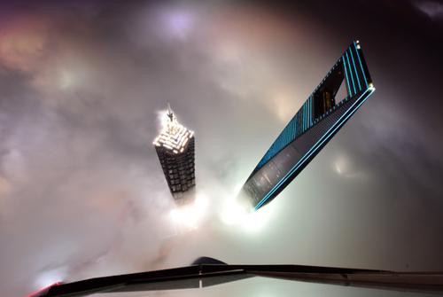 عکس گرفته شده از طبقه 121 برج شانگهای چین که نشان دهنده مه غلیظ در این شهر است