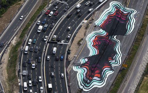 یک اثر هنری هنرمند آلمانی در حاشیه خیابانی در پاریس