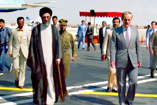 بدرقه حضرت آیتالله خامنهای و هیات همراه از سوی مرحوم حافظ اسد و مقامات سوری