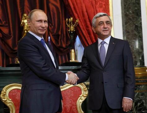 دیدار ولادیمیر پوتین با سرژ سرکیسیان همتای ارمنی در مسکو