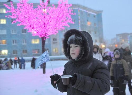 جشن های آخر سال در شهر نوریسک روسیه