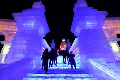 بازدید توریست ها از نمایشگاه سازه های برفی و یخی در هاربین چین