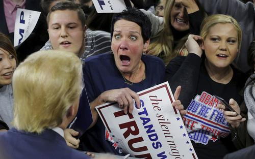 حاشیه های سخنرانی انتخاباتی دونالد ترامپ نامزد جمهوریخواه انتخابات ریاست جمهوری آمریکا در ماساچوست