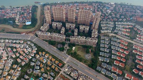تصویری هوایی از محله ای در شهر نانینگ چین