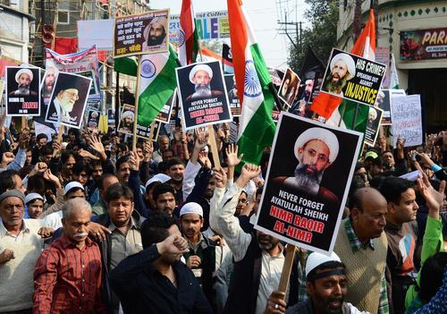 تظاهرات شیعیان هندی در شهر الله آباد در محکومیت اعدام شیخ نمر