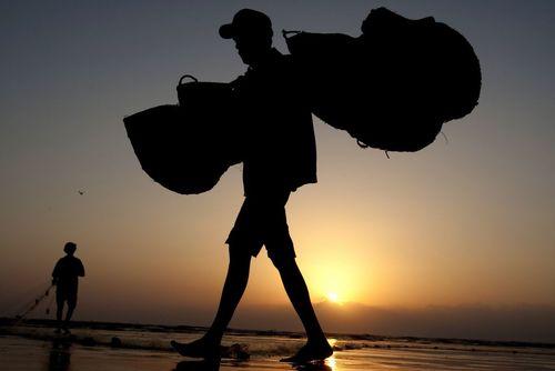 ماهیگیر پاکستانی در بندر کراچی