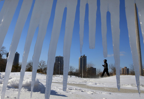 سرما و یخزدگی در شهر شیکاگو آمریکا