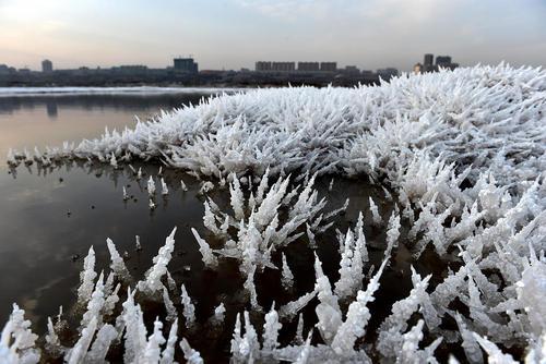 یخزدگی در دریاچه نمک یونچنگ چین