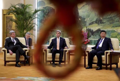 دیدار جان کری وزیر امور خارجه آمریکا با شی جن پنگ رییس جمهور چین – پکن