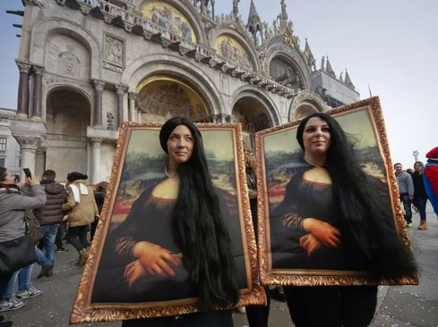 شوخی با داوینچی در کارناوال سالانه ونیز ایتالیا