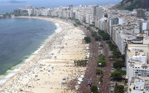 تصویری هوایی از کارناوال سالانه در ریودوژانیرو برزیل