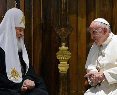 دیدار اسقف اعظم کلیسای ارتدوکس روسیه با پاپ فرانسیس