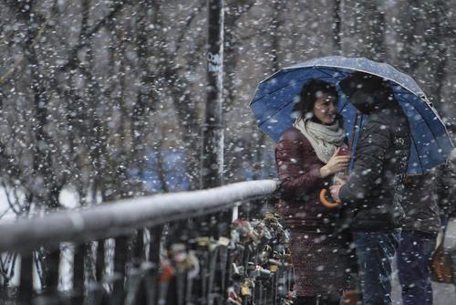 هوای برفی در شهر کی یف اوکراین