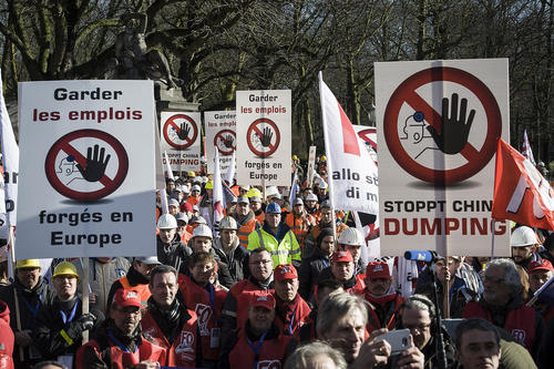 اعتراضات کارکنان صنایع آهن و فولاد بلژیک – بروکسل