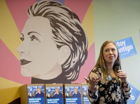 فعالیت چلسی کلینتون دختر هیلاری کلینتون نامزد دموکرات انتخابات ریاست جمهوری آمریکا در کمپین مادرش در شهر لاس وگاس در ایالت نوادا