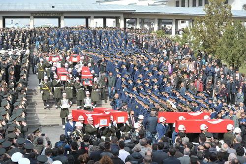 مراسم تشییع نظامیان کشته شده در حمله تروریستی اخیر آنکارا