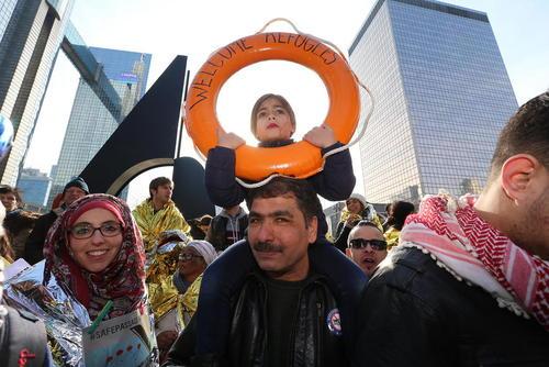 برگزاری تظاهرات حامیان پناهجویان در شهر بروکسل بلژیک