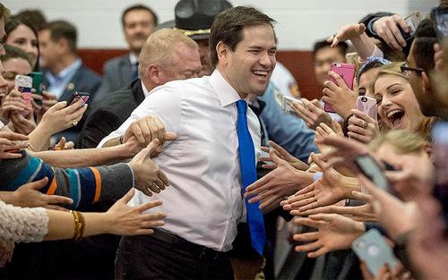 مارکو روبیو نامزد جمهوریخواه انتخابات ریاست جمهوری آمریکا در جمع حامیانش در ویرجینیا