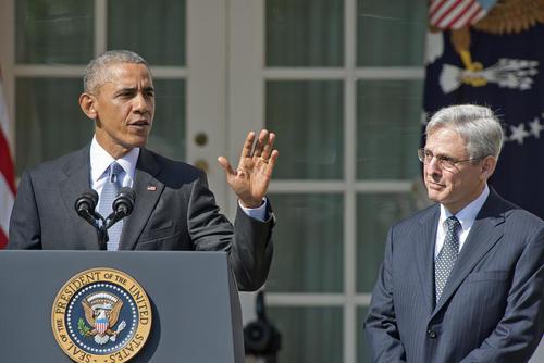 اوباما در محوطه کاخ سفید و در نشست خبری معرفی قاضی جدید برای دادگاه عالی این کشور