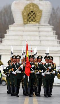 مراسم برافراشتن پرچم در روز آزادی در لهاسا تبت