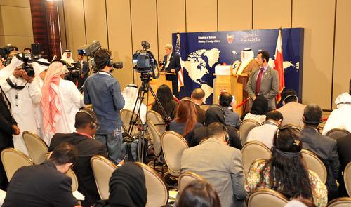 نشست خبری وزیران خارجه بحرین و آمریکا در منامه