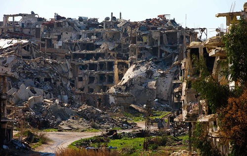 ویرانه های شهرستان حمص سوریه