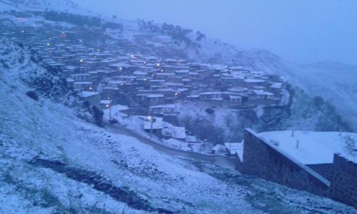 بارش برف در روستای کزج- شهرستان خلخال- استان اردبیل- معاذ بخشی