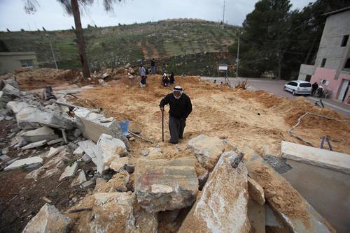 خانه یک فلسطینی که توسط اسرائیل خراب شده است