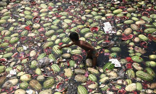 کودک در حال جمع آوری موارد غذایی- برخی از مردم بنگلادش زباله ها و مواد غذایی فاسد شده را با کامیون به داخل روخانه می ریزند