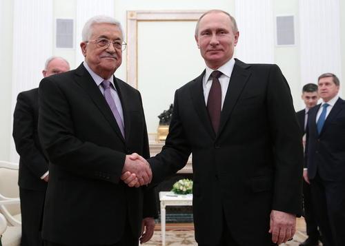 دیدار محمود عباس رییس تشکیلات خودگردان فلسطین با ولادیمیر پوتین رییس جمهور روسیه در مسکو