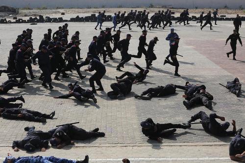 مانور نیروهای وضعیت اضطراری در باریکه غزه