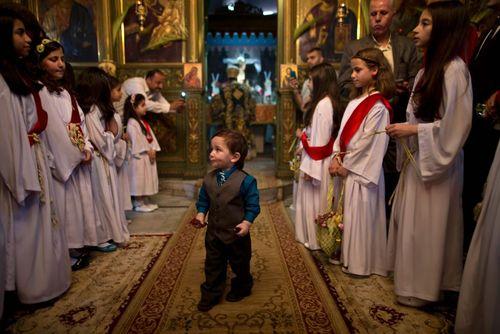 برگزاری آیین عید پاک مسیحیان ارتدوکس فلسطین در کلیسای سنت پورفیلیوس در غزه