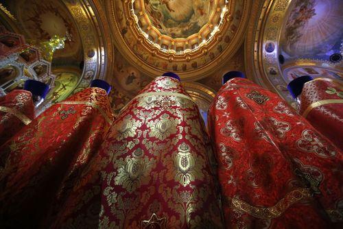 مراسم عید پاک مسیحیان ارتدوکس در کلیسای جامع شهر مسکو