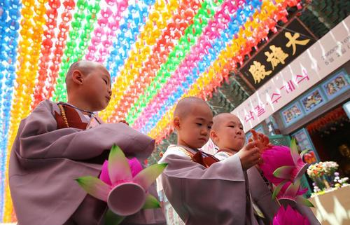 راهبان خردسال بودایی در معبدی در شهر سئول کره جنوبی