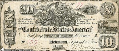 اسکناس ده دلاری مربوط به سال 1862 با عکسی از یک مرد آفریقایی در حال جمع آوری پنبه