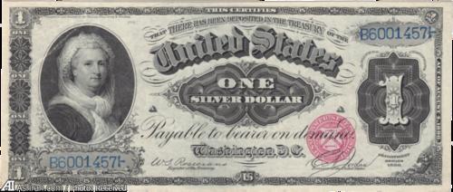 دلار آمریکا با عکسی از مارثا واشنگتن اولین همسهر رئیس جمهور در آمریکا
