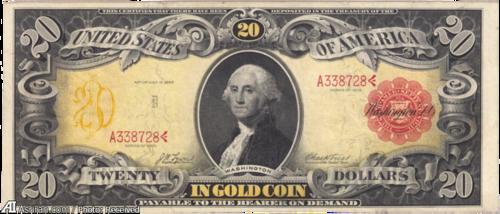 اسکناس طلایی بیست دلاری چاپ 1905 با تصویری از جورج واشنگتن اولین رئیس جمهور ایالت متحده آمریکا